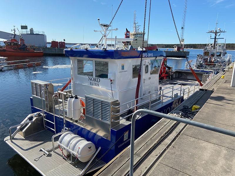 Luleå skärgårds nya arbetsbåt Nord sjösatt