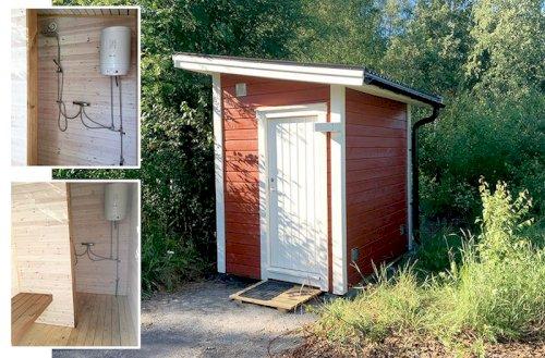 Liten dusch i anknytning till Leppiniemikajen på Seskarö, Haparanda skärgård