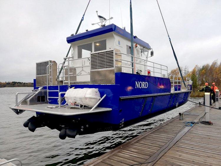Sjösättning av Luleås nya arbetsbåt
